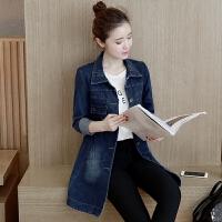牛仔外套女中长款修身风衣开衫秋冬新款韩版大码长袖显瘦上衣学生