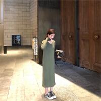 过膝毛衣长裙2018秋冬新款显瘦气质挂脖内搭法式长袖针织连衣裙潮
