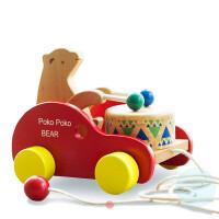 拖拉玩具儿童宝宝木质拉线车幼儿园1-3岁婴儿动物狗狗拉绳小拉车 小熊敲敲 小熊敲敲
