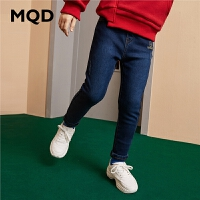 MQD童装女童牛仔裤2019冬装新款儿童韩版加绒加厚保暖弹力长裤潮