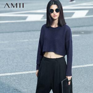 AMII[极简主义]秋女纯色圆领蝙蝠长袖圆摆宽松短款大码毛衣11570892