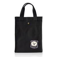 ^@^朴素 帆布保温手提饭盒袋 便当包女妈咪包学生补习袋可爱防水 黑色ODB-255 常规竖款