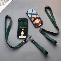 玻璃漫画女生款iphone6s plus手机壳苹果xs max卡通7/8挂绳11脖xr