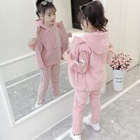 女童加绒加厚套装新款洋气儿童运动卫衣三件套秋冬童装