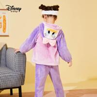 【3件3折:80.9元】迪士尼女童加绒可爱连帽睡衣秋冬儿童宝宝卡通家居服套装