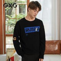 【特价】GXG男装 2021春季时尚休闲黑色图案低领毛衫男GY120213GV