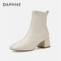 Daphne/达芙妮短靴女2019秋冬新款英伦风弹力靴子百搭粗跟马丁靴---