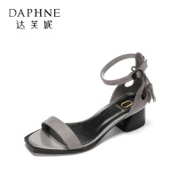 Daphne/达芙妮圆漾款绒面露趾镂空粗跟流苏绑带女凉鞋