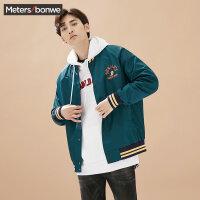 美特斯邦威棒球服男2017秋装新款复古宽松韩版夹克外套青年学生