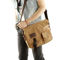 潮流帆布包单肩包男士斜挎包户外斜背包跨包 休闲男包学生背包