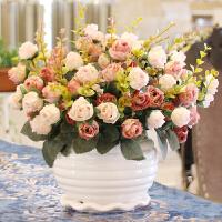 假花仿真玫瑰花束绢花客厅摆设装饰塑料花盆栽干花艺茶几摆件插花