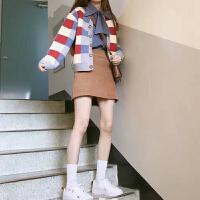网红初秋女神温柔风衬衣寸衫毛衣配裙子加外搭两件套装短裙秋冬季 X