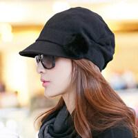 帽子女冬天韩版潮贝雷帽韩国秋冬女士八角帽冬季时尚鸭舌帽时装帽