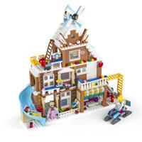 乐拼装冰雪公主玩具人仔城堡积木拼插儿童别墅积木女孩