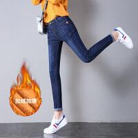 加绒牛仔裤女冬季2018新款韩版修身显瘦高腰长裤加厚小脚裤铅笔裤