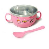 W 儿童不锈钢碗双层隔热碗宝宝防摔碗餐具家用饭碗婴儿辅食碗勺B31
