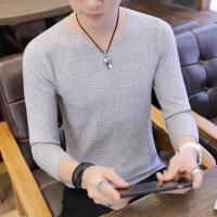 新款男士长袖t恤秋季薄款V领毛衣针织衫男韩版纯色打底上衣服