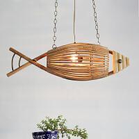 创意鱼形灯吊灯餐馆酒吧咖啡馆竹灯美式乡村餐厅烤鱼灯吊灯 含4W暖黄LED灯泡