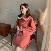 时尚小香风毛呢套装女春季新款翻领短款外套高腰显瘦半身裙两件套