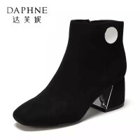 Daphne/达芙妮时尚圆头低筒中跟女靴-