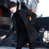 秋冬季男士格子风衣中长款毛呢大衣韩版潮流呢子外套妮子加厚男装