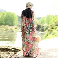 乱在江南民族风连衣裙女中长款宽松过膝2020夏季新款雪纺复古裙子