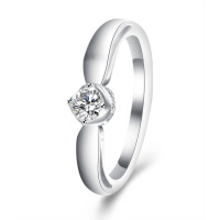 梦克拉 18K金女款婚戒钻石戒指爱你360度系列爱・承诺