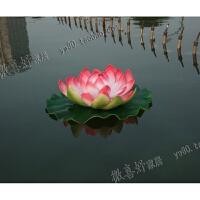 仿真荷花荷叶水池造景假莲花漂浮睡莲花舞蹈道具鱼缸装饰寺庙供佛 其他颜色 60cm桃红
