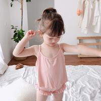 【2件2折价:35】纽豆儿童睡衣套装夏季薄款柔软亲肤棉绸吊带短裤女童两件套宝宝家居服