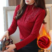 加绒加厚蕾丝打底衫女秋冬新款女装韩版长袖高领百搭保暖上衣8053