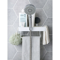 浴室壁挂墙上吸壁式毛巾杆置物架塑料免打孔架子卫生间吸盘收纳架