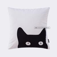 卡通创意猫咪北欧沙发抱枕办公室汽车靠垫床头靠枕套午休枕