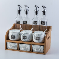【好货】家用陶瓷调味盒双层调味罐玻璃油瓶组合套装厨房盐罐调料调味瓶罐