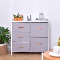 【优选】现代简约抽屉式收纳柜子布艺组装家用卧室储物柜整理玩具架斗柜橱 4个