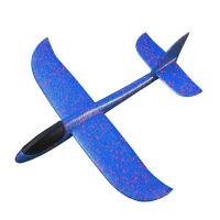 泡沫飞机模型玩具手抛航模带灯滑翔机 电动飞机 蓝色(小号飞机) 送电池+充电盒