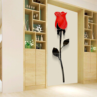 亚克力3d立体墙贴画装饰自粘玄关卧室餐厅沙发客厅电视背景墙画浪漫玫瑰花情人花墙壁饰贴 红色 大号60cm*14.3CM