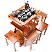【新品】花梨木茶车可移动带轮茶桌茶盘紫砂功夫茶具套装全自动电磁炉 +4椅子 22件
