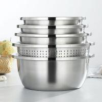 加厚不锈钢调料缸5件套洗菜漏盆淘米盆和面盆米筛不锈钢盆套装盆