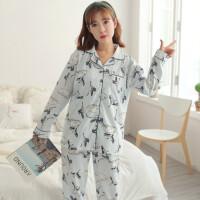 韩版长袖孕妇睡衣哺乳开衫大码月子服春秋季产后喂奶衣套装夏