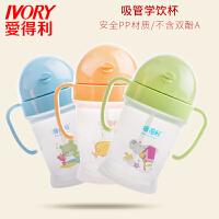 PP水杯宝宝吸管杯婴儿带把柄吸管儿童练习杯160ml喝水杯F52AD 颜色随机