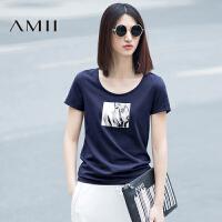 Amii极简秋装显瘦白色印花短袖宽松百搭T恤女装打底衫