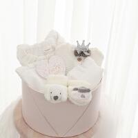 初生婴儿衣服0-3个月纯棉套装新生儿礼盒满月服礼物百日宝宝用品 白色