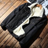 加绒加厚牛仔外套男冬季新款棉衣羊羔毛韩版男装宽松牛仔夹克 333黑色加绒 S