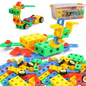 橙爱玩具 儿童创意拼搭玩具积木 智力螺母组合建造工程 益智拆装积木儿童玩具 桶装
