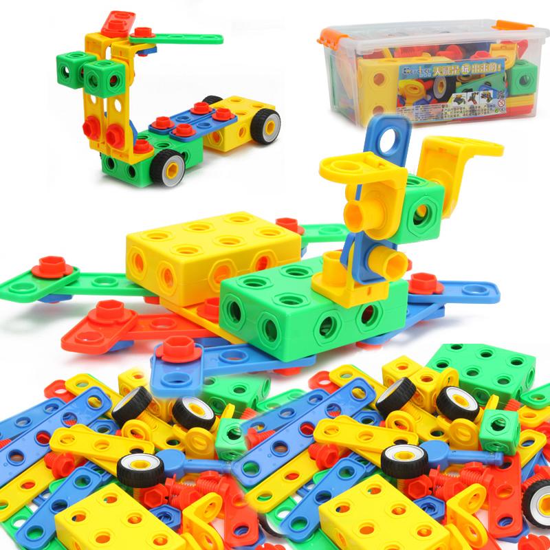 【满200减100】橙爱玩具 儿童创意拼搭玩具积木 智力螺母组合建造工程 益智拆装积木儿童玩具 桶装满200减100(6.16-6.20