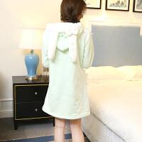 冬季可爱韩版卡通法兰绒长款女睡裙甜美毛绒长袖冬天加厚连帽睡衣