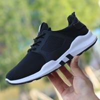 夏季男鞋子韩版潮流系带休闲运动鞋百搭男士跑步鞋透气潮鞋黑色