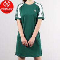 Adidas/阿迪达斯三叶草新款休闲运动中袖女子连衣裙女圆领短袖裙子CE4963