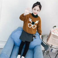 女童洋气套装秋冬2018新款韩版冬装中大童儿童加厚卫衣裙裤两件套
