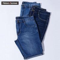 【满299减200】美特斯邦威牛仔短裤男夏装新款简洁修身舒适五分中裤伍嘉成